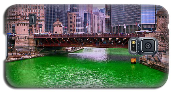 Galaxy S5 Case featuring the photograph Dyeing The Chicago River Green by Jerome Lynch