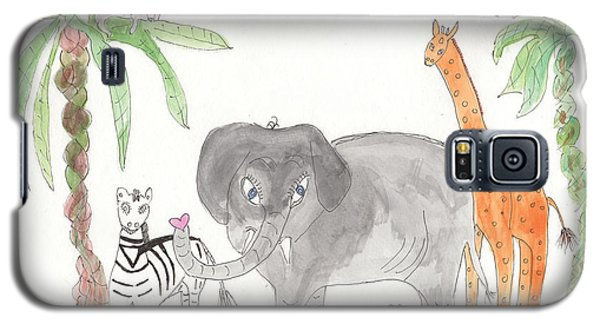 Galaxy S5 Case featuring the painting Elephoot And Friends by Helen Holden-Gladsky