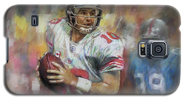 Galaxy S5 Case featuring the drawing Eli Manning Nfl Ny Giants by Viola El
