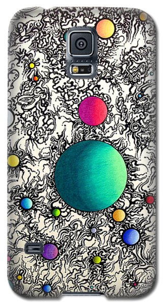 Galaxy S5 Case featuring the drawing Entropy Color Variation 6 by Devin  Cogger