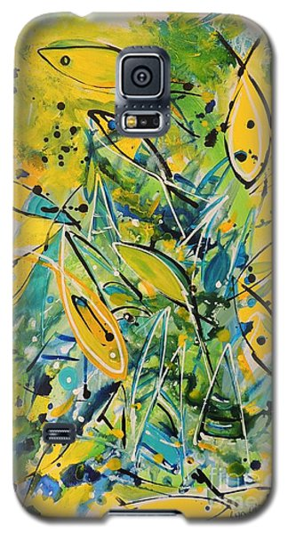 Galaxy S5 Case featuring the painting Fish Frenzy by Lyn Olsen
