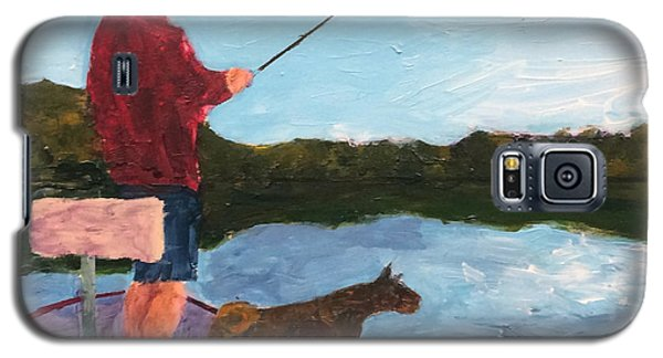 Galaxy S5 Case featuring the painting Fishing by Donald J Ryker III