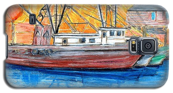 Galaxy S5 Case featuring the drawing Fishing Trawler by Eric  Schiabor
