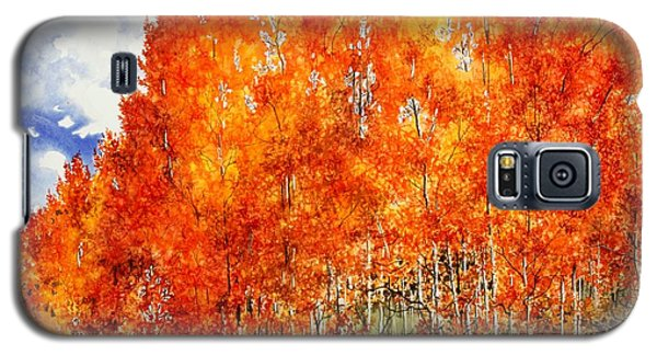 Galaxy S5 Case featuring the painting Flaming Aspens 2 by Barbara Jewell