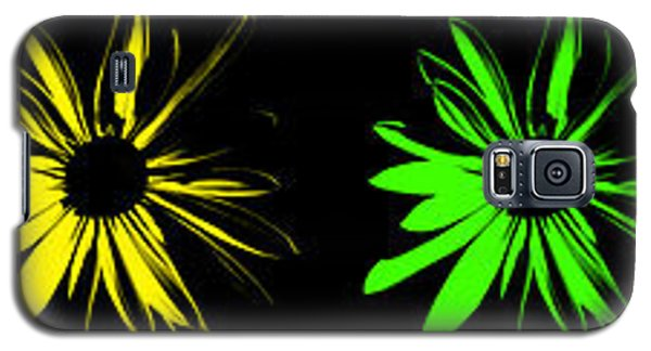 Galaxy S5 Case featuring the digital art Flowers On Black by Maggy Marsh