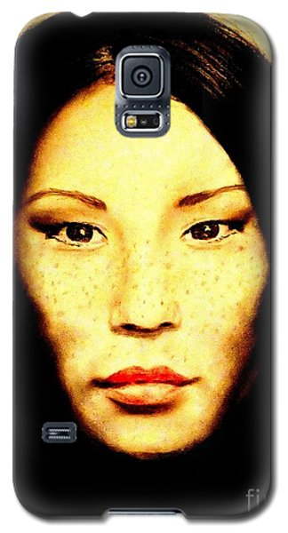 Galaxy S5 Case featuring the pastel Freckle Faced Beauty Lucy Liu  by Jim Fitzpatrick