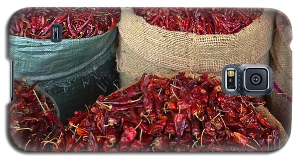 Galaxy S5 Case featuring the photograph Fresh Dried Chilli On Display For Sale Zay Cho Street Market 27th Street Mandalay Burma by Ralph A  Ledergerber-Photography