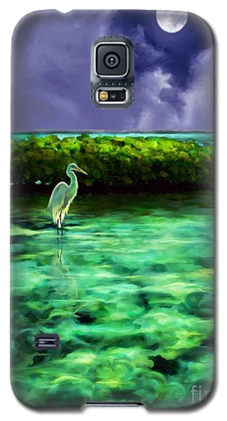 Galaxy S5 Case featuring the painting Full Moon Fishing by David  Van Hulst