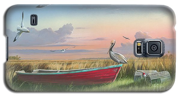Galaxy S5 Case featuring the painting Gathering At Sunrise by Mike Brown