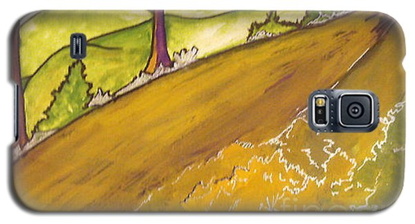 Galaxy S5 Case featuring the painting Golden Road by Iris Gelbart
