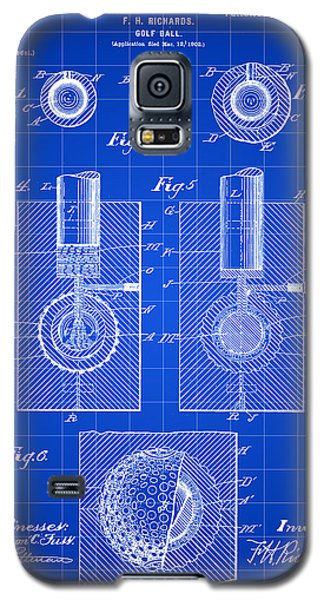 Golf Ball Patent 1902 - Blue Galaxy S5 Case by Stephen Younts