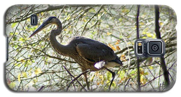 Galaxy S5 Case featuring the photograph Great Blue Heron In Bushes by Karen Silvestri
