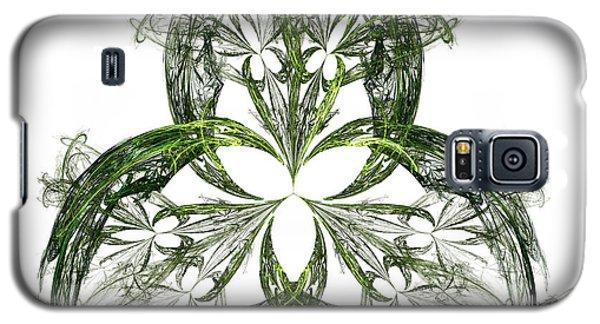 Galaxy S5 Case featuring the digital art Green Irish Shamrock Fractal Motif by Jane McIlroy
