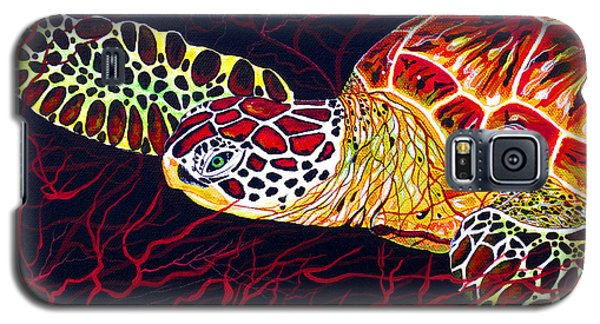 Galaxy S5 Case featuring the painting  Hawksbill Turtle by Debbie Chamberlin