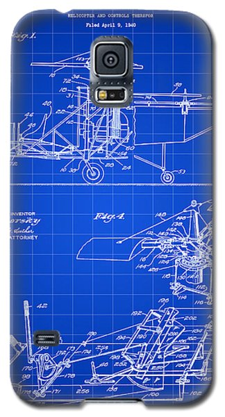Helicopter Galaxy S5 Case - Helicopter Patent 1940 - Blue by Stephen Younts