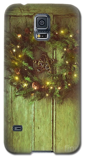 Holiday Wreath On Wooden Door/ Digital Painting Galaxy S5 Case