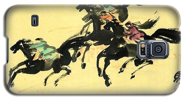Galaxy S5 Case featuring the painting Horse Racing  by Ping Yan