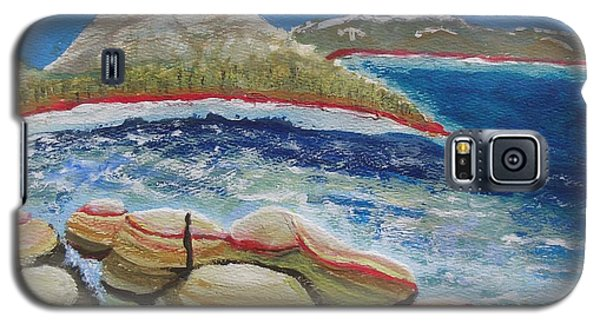 Galaxy S5 Case featuring the painting Kudos To Kondos At The Lake by Carol Duarte