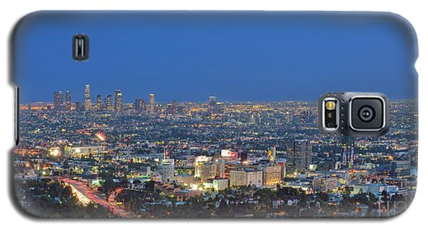 L.a. Skyline Los Angeles Ca Cityscape Night Dusk Lit Lights On 3 Galaxy S5 Case