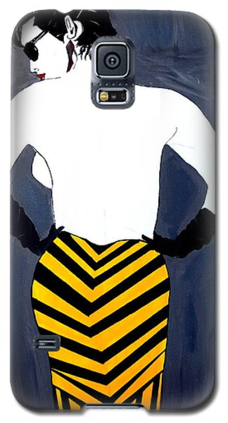 Galaxy S5 Case featuring the painting Lady In Stripes by Nora Shepley