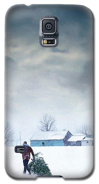 Man Carrying Tree For Christmas/digital Painting Galaxy S5 Case