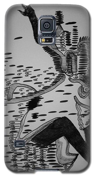 Galaxy S5 Case featuring the drawing Mbakumba Dance - Zimbabwe by Gloria Ssali