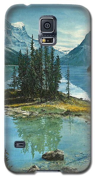Galaxy S5 Case featuring the painting Mountain Island Sanctuary by Mary Ellen Anderson