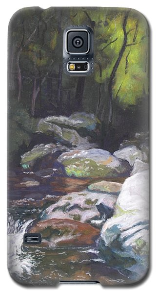 Galaxy S5 Case featuring the pastel Mountain Stream At Dusk by Robert Decker