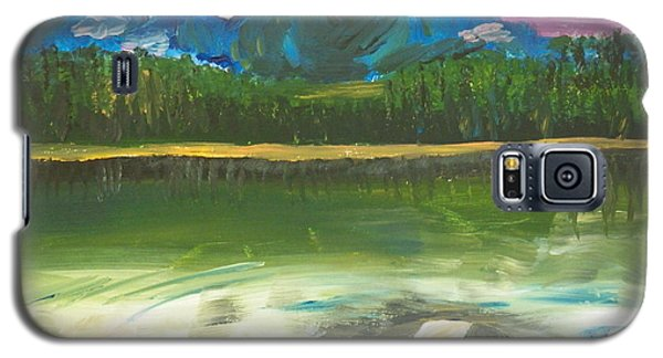 Galaxy S5 Case featuring the painting ptg. Mountain View by Judy Via-Wolff