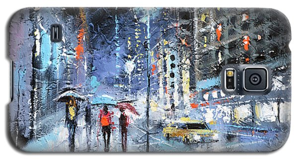 Galaxy S5 Case featuring the painting Night City by Dmitry Spiros
