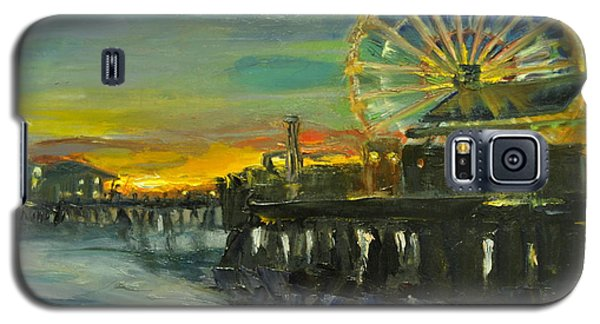 Galaxy S5 Case featuring the painting Nighttime Pier by  Lindsay Frost