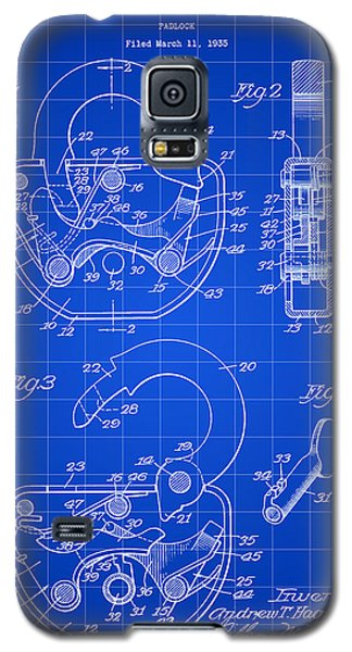 Padlock Patent 1935 - Blue Galaxy S5 Case by Stephen Younts