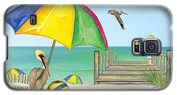 Galaxy S5 Case featuring the painting Pelican Under Umbrella by Anne Beverley-Stamps