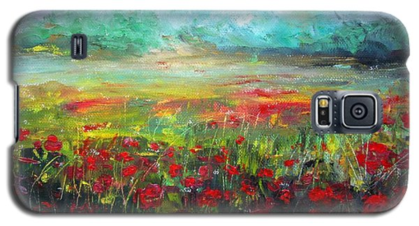 Galaxy S5 Case featuring the painting Poppy Fields by Vesna Martinjak
