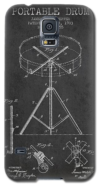 Drum Galaxy S5 Case - Portable Drum Patent Drawing From 1903 - Dark by Aged Pixel