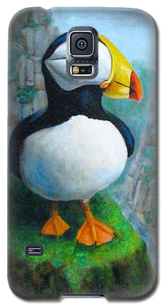 Galaxy S5 Case featuring the painting Portrait Of A Puffin by Oz Freedgood