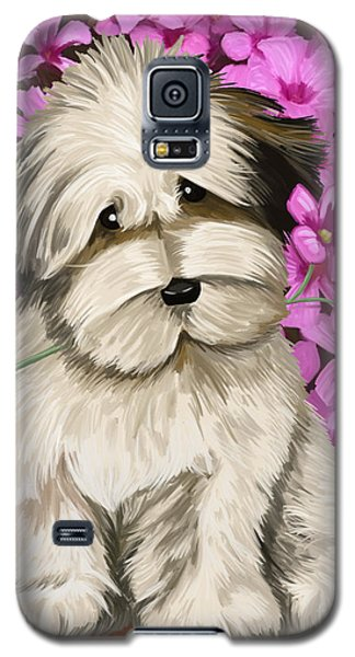 Galaxy S5 Case featuring the painting Puppy In The Flowers by Tim Gilliland