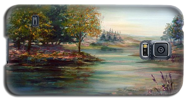 Galaxy S5 Case featuring the painting Quiet Day On The Lake by Laila Awad Jamaleldin