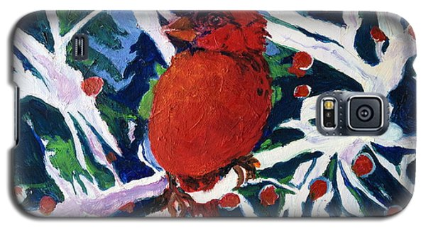 Galaxy S5 Case featuring the painting Red Bird by Julie Todd-Cundiff