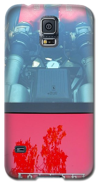 Galaxy S5 Case featuring the photograph Red Ferrari Engine Window by Jeff Lowe