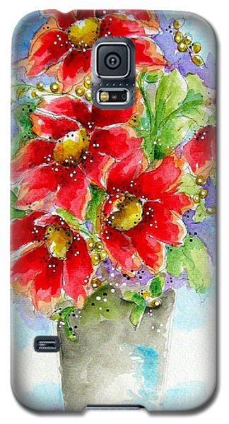 Galaxy S5 Case featuring the painting Red Flowers by Patrice Torrillo