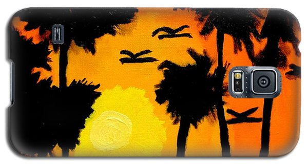 Galaxy S5 Case featuring the painting Rising Glow At Sunset by Artists With Autism Inc