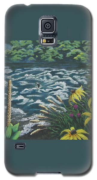 Galaxy S5 Case featuring the painting Rushing Water by Suzanne Theis