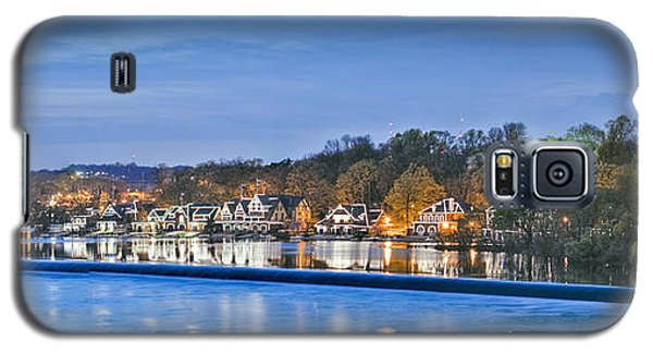 Schuylkill River  Boathouse Row Lit At Night  Galaxy S5 Case by David Zanzinger
