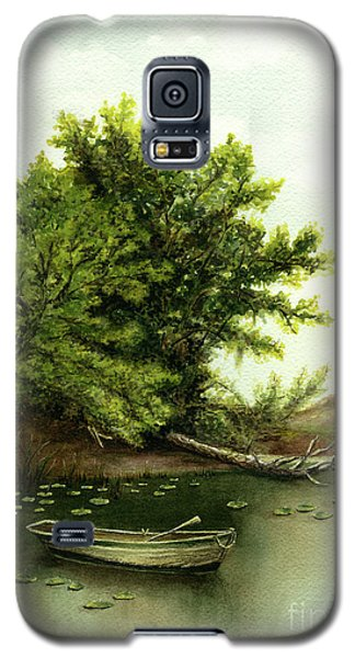Serene Solitude Boat And Trees Galaxy S5 Case by Nan Wright