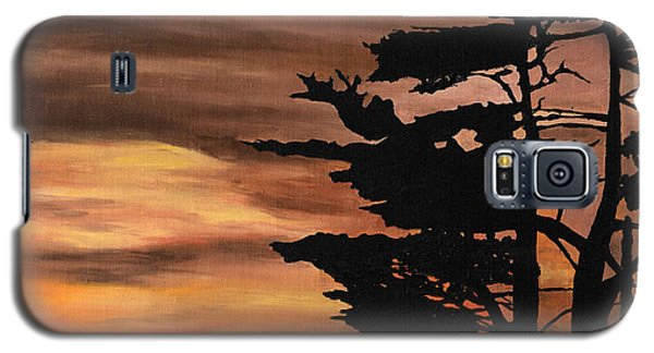 Galaxy S5 Case featuring the painting Silhouette Sunset by Mary Ellen Anderson