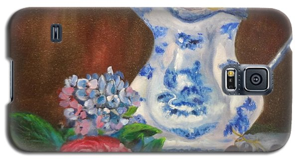 Galaxy S5 Case featuring the painting Still Life With Blue And White Pitcher by Jenny Lee