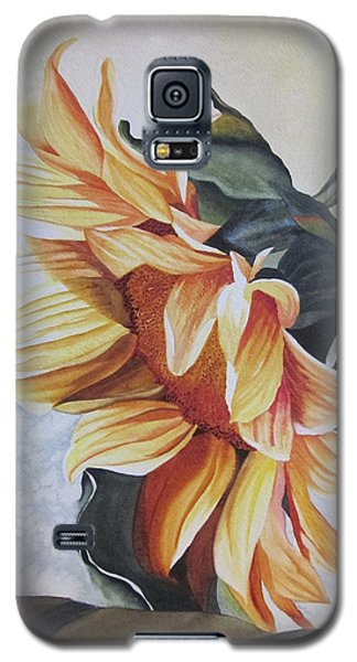 Galaxy S5 Case featuring the painting Sunflower by Teresa Beyer
