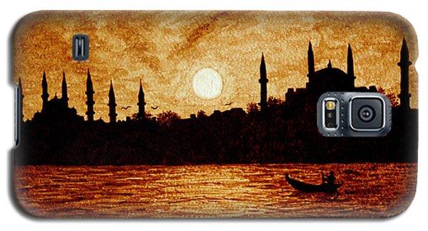 Sunset Over Istanbul Original Coffee Painting Galaxy S5 Case by Georgeta  Blanaru