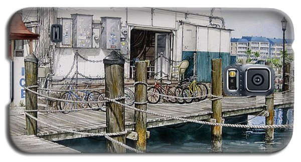 Galaxy S5 Case featuring the painting Thompson's Docks  by Bob  George
